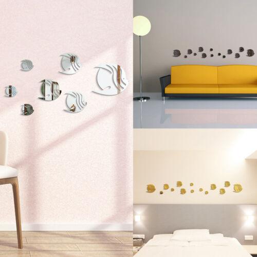 3D Art Fish Mirror Sticker Decal Bedroom Wall Decor Home Decor 7PCS Stickers DL5