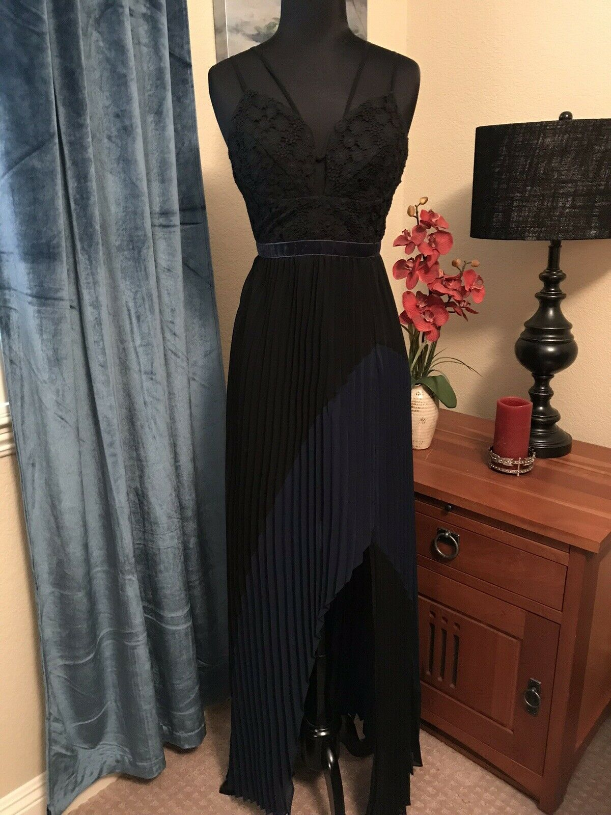 dca9eca08c0b Foxiedox Beautiful Beautiful Beautiful High Low Pleated Maxi Dress Size XS  3f3a7f ...