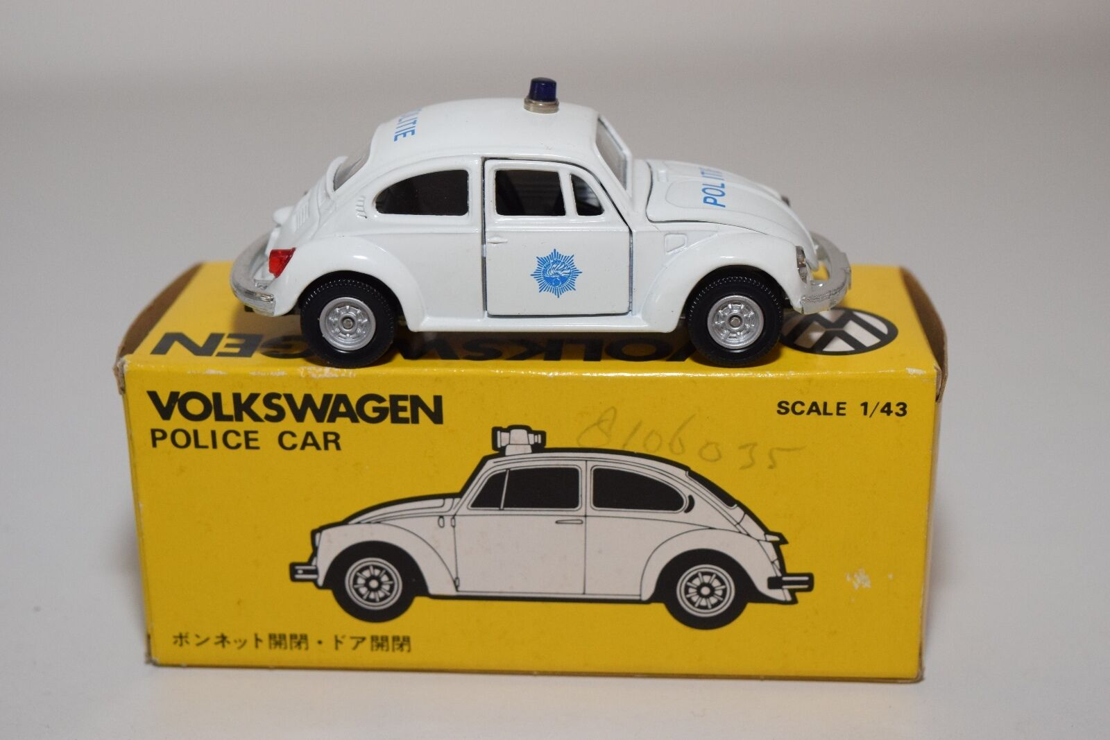 KADO JAPAN JAPAN JAPAN VW VOLKSWAGEN BEETLE KAFER POLICE CAR POLITIE MINT BOXED 616b7a