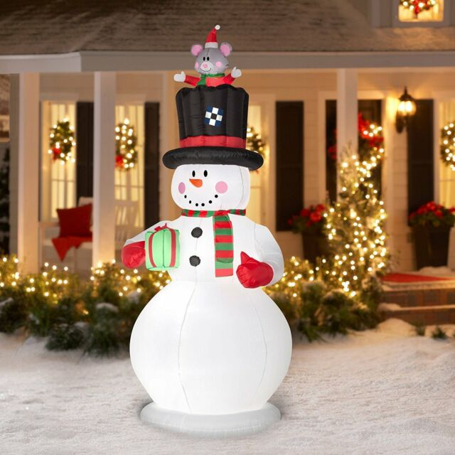 gemmy airblown inflatables christmas inflatable 9 country snowman with pop up m - Christmas Decorations Inflatables