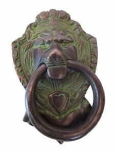 Motivo leone in ottone finitura vintage con batacchio pezzo forte Home Decor