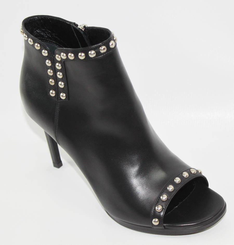 AUTH YSL Saint Laurent Women Black Leather High Heel Open Toe Boot 37