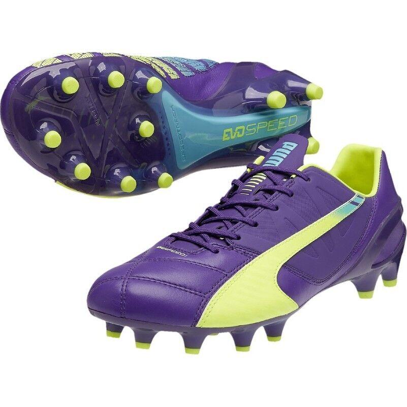 Puma evoSPEED 1.3 FG FG FG Fußballschuhe Leather (Leder) lilat gelb blau (103010-01) c9dd33