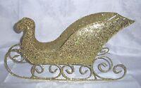 Raz Imports 17 Metal Sleigh-gold W/glitter-christmas Display, Centerpiece