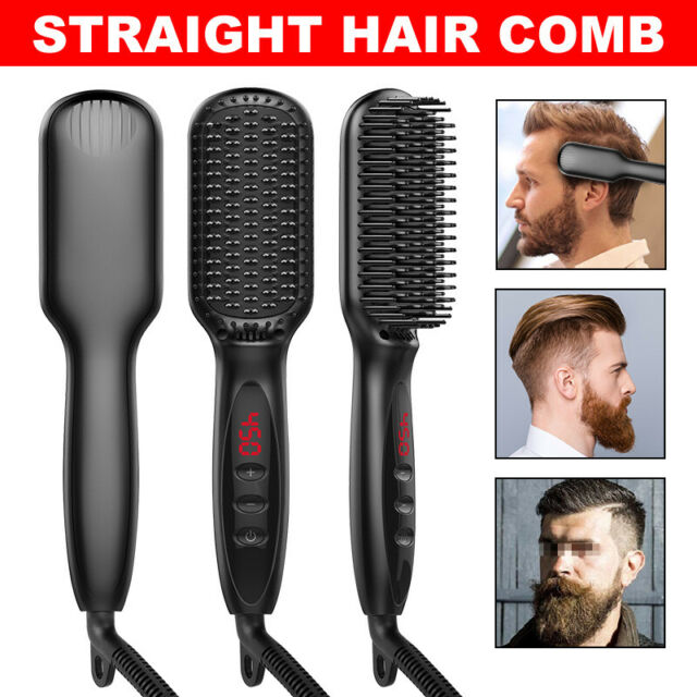 Beard Hair Straightener Brush Comb Curling Curler Electric Haircut Styling Black
