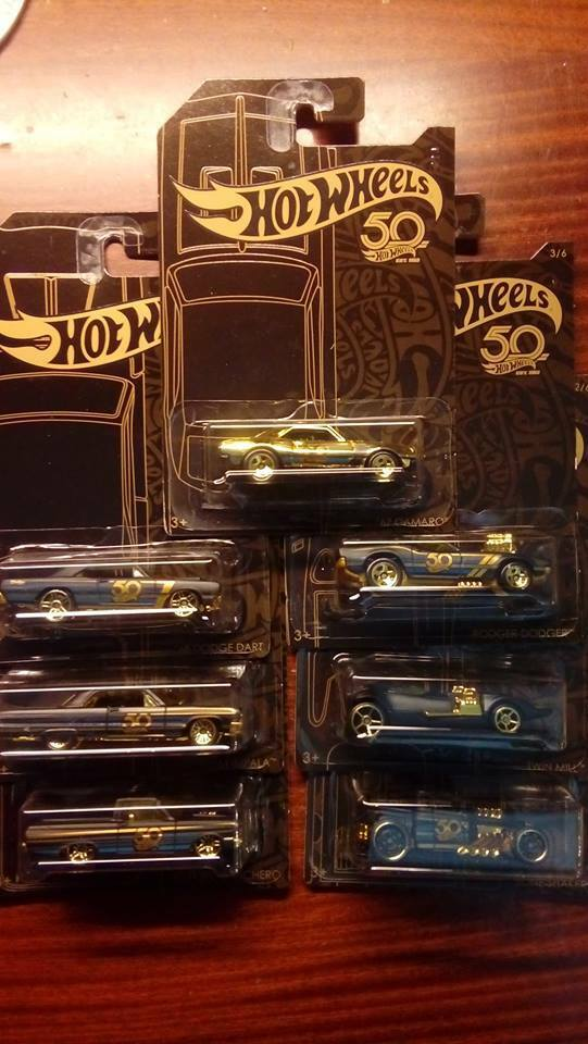Hot Wheels  50TH Anniversary Complete Set 7 67 Camaro Chase Gold  full set