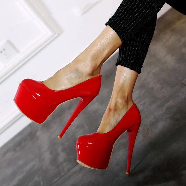 Sexy femmes Patent Leather Platform Super High Heel Clubs Pump Slip On chaussures Plus