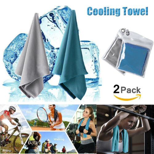 2 Pack Ice Cold Instant Cooling Towel Running Jogging Gym Chilly Pad Sports Yoga