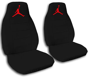 Image Is Loading 2 Front Black Seat Covers With A Red