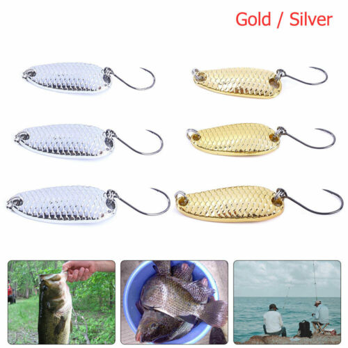 Spoons Hard Fishing Lures Metal Hook Glitter Sequins Lure Baits Pack of 3 NICE