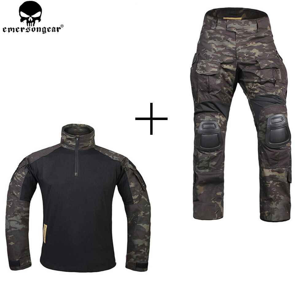 EMERSON G3 Hunting BDU Clothes Combat Shirt & Pants with Knee Pad Tactical MCBK