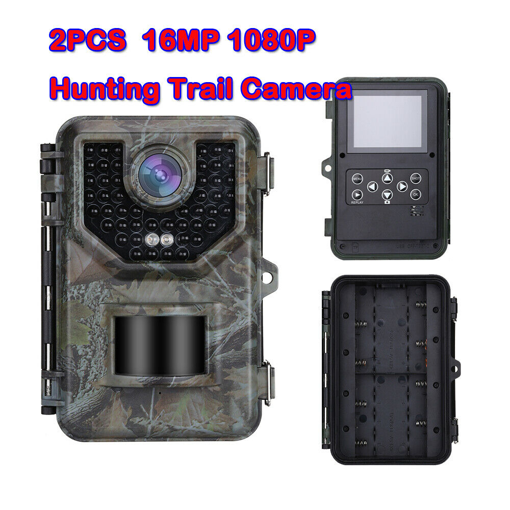 2 Pack 16MP 1080P Camara caza 120 ° 2.4  LCD 0.5s Disparador Trail Degree Cámara