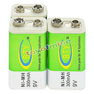 3x 9v ni mh batteria da 9 volt 300mah bty verde for Porta batteria 9v