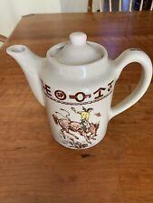 Teapot , Lid Cowboy Horses Wallace Repro Western Made In TX Westward Ho 1991