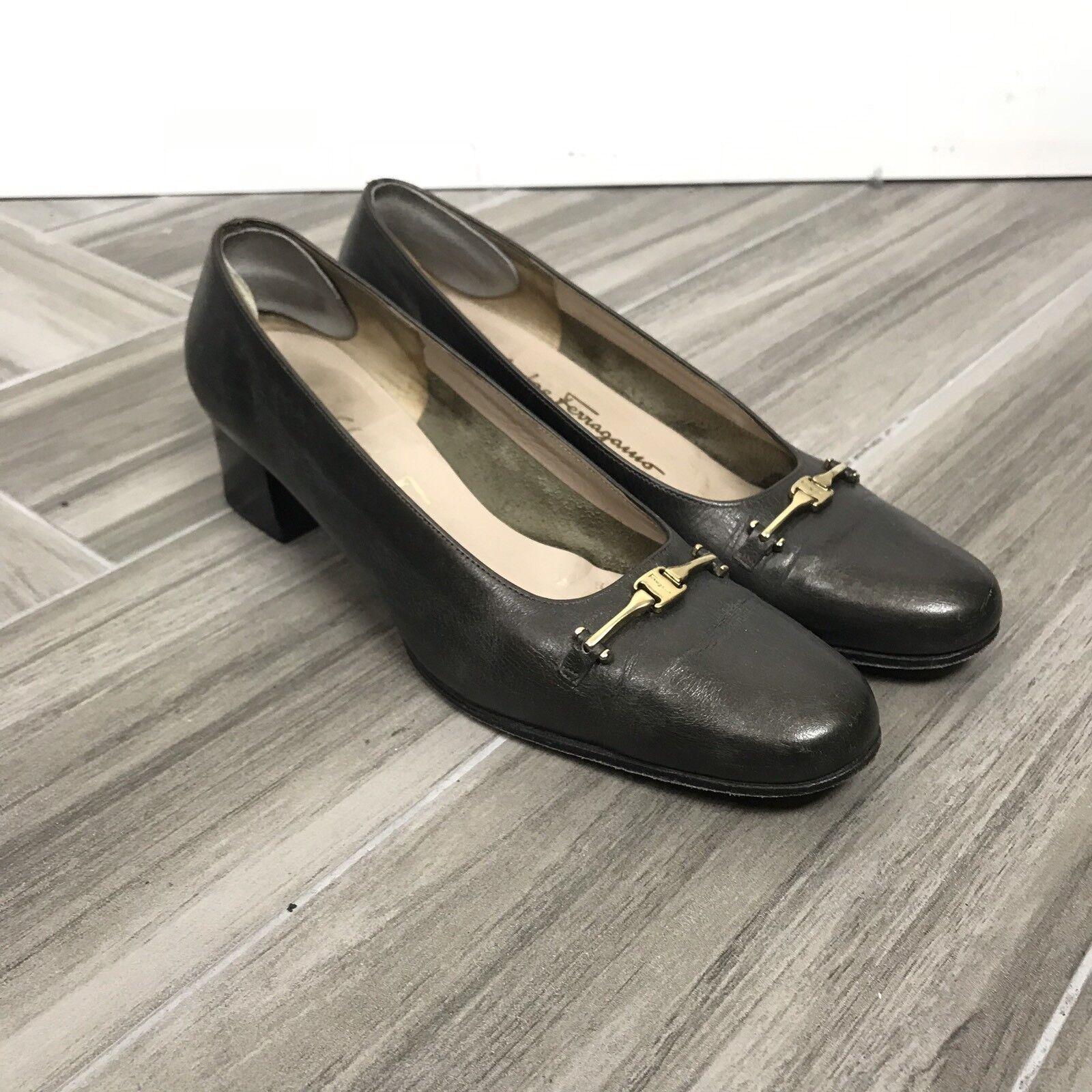 Salvatore Ferragamo damen Block Heels schuhe Größe 7.5 AA Pewter Slip On GHW
