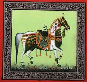 Handmade-Decorated-Royal-Horse-Painting-Indian-Miniature-Art-Painting