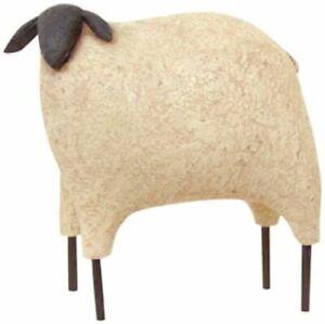 Country-Primitive-Folk-Art-SHEEP-FIGURINE-Standing-Resin-Blossom-Bucket-4-5-034