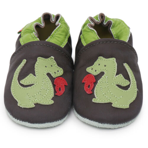 carozoo fire dragon brown 7-8y soft sole leather kids shoes
