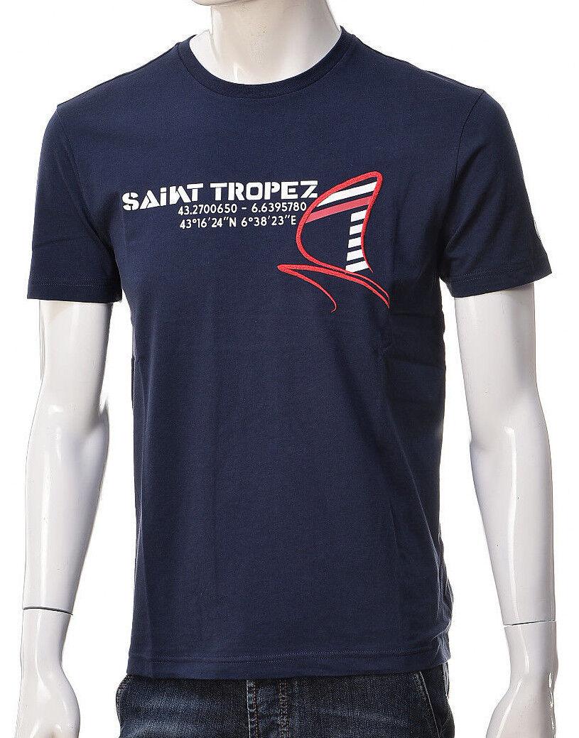 T-shirt hommes Emporio Arhommei EA7 3ZPT72 PJ02Z Maglia Cotone blanc bleu Nuova