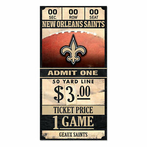 New-Orleans-Saints-Old-Game-Ticket-Holzschild-30-cm-NFL-Football-Wood-Sign