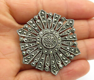 925-Sterling-Silver-Vintage-Marcasite-Decorated-Floral-Brooch-Pin-BP4425
