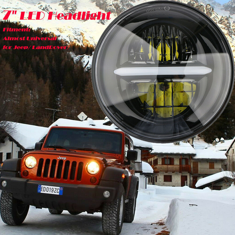Jeep Jk Headlights >> Details About 2x 7inch Led Headlight For 07 15 Jeep Jk Headlights Land Rover Defender