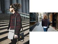 ZARA Maroon Studio Checked Print Ladies Jacket Coat size SMALL