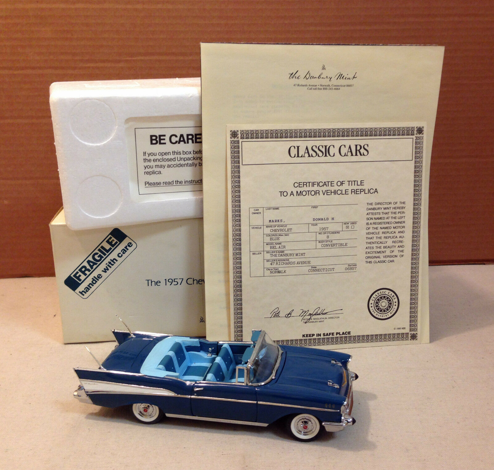 DANBURY MINT 1957 CHEVROLET BEL AIR 1 24 SCALE - NEW IN BOX WITH COA