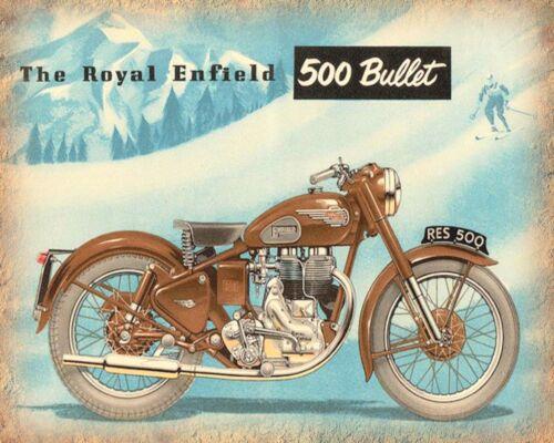 "10/"" x 8/"" ROYAL ENFIELD 500 BULLET BRITISH MOTORCYCLE BIKER METAL PLAQUE SIGN 623"