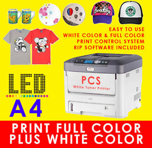 Details about OKI White Toner Ink Laser T Shirt Heat Press Transfer  Printer,A4 Size *NEAR NEW