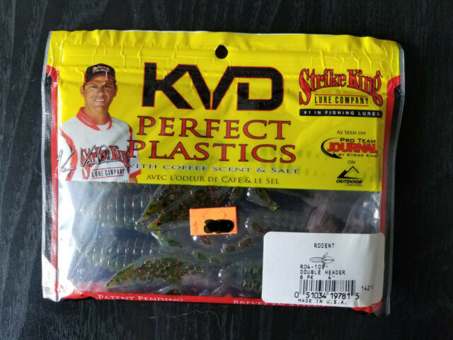 "Bags Strike King KVD Perfect Plastic 4/"" Rodent Watermelon Red//Black R04-18 4"