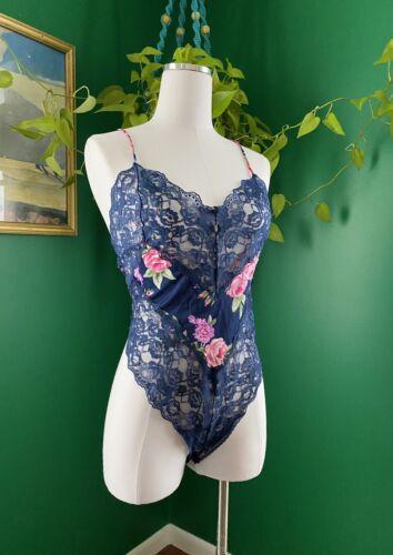 Vintage Vassarette High Cut Lace Bodysuit Size Lar
