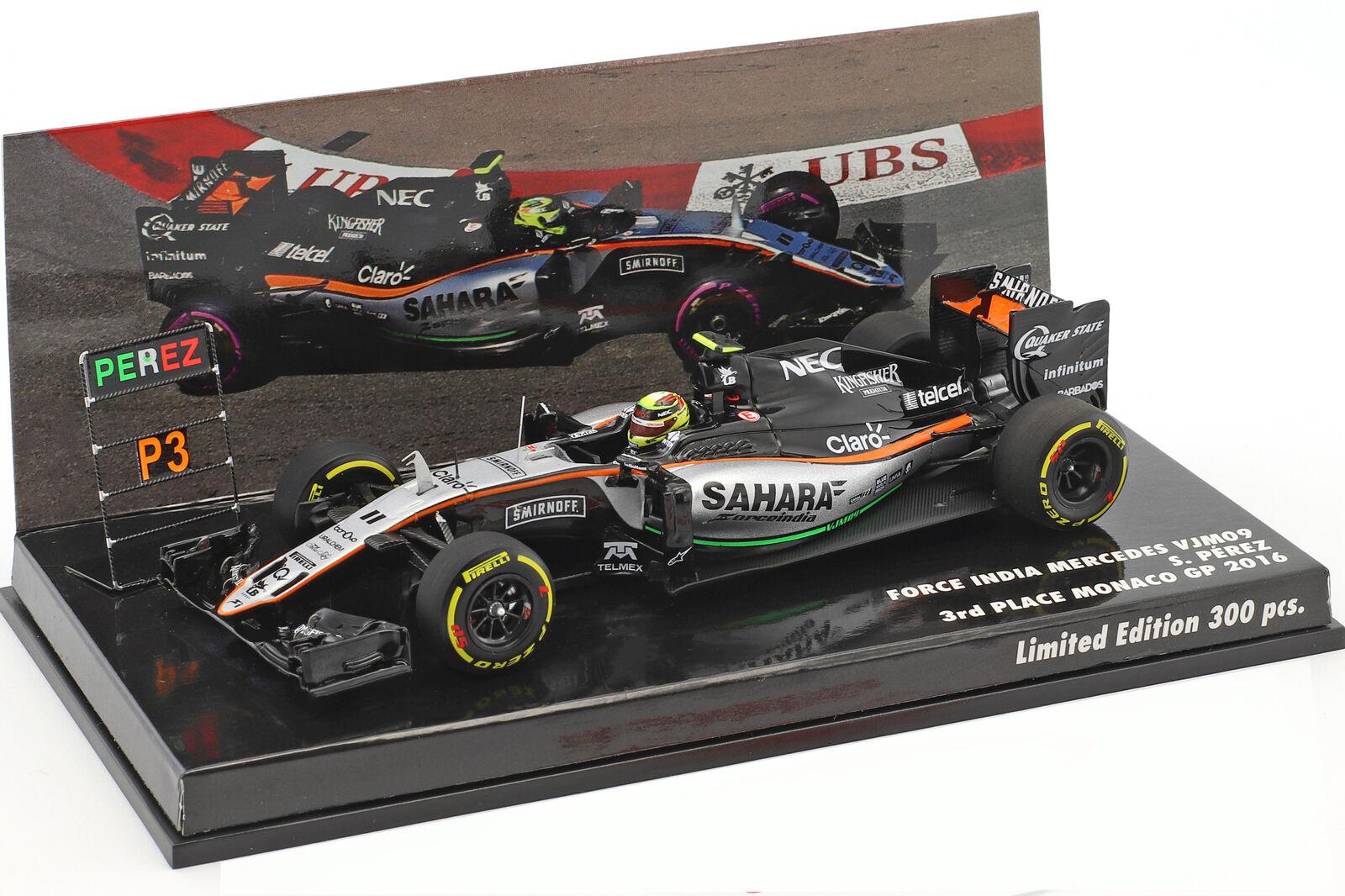 Sergio Perez Force India vjm09  11 3rd Monaco GP Formula 1 2016 1 43 Minichamps