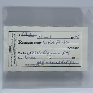ORIGINAL ROSA PARKS RENT RECEIPT DETROIT, MI DEC 1976