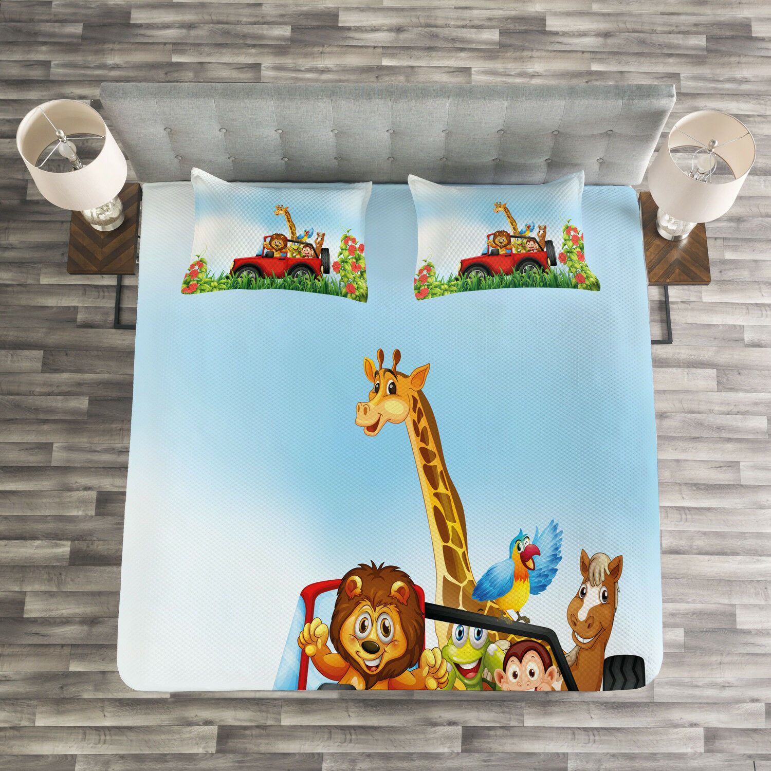 Zoo Quilted Bedspread & Pillow Shams Set, Cartoon Wildlife Animals Print