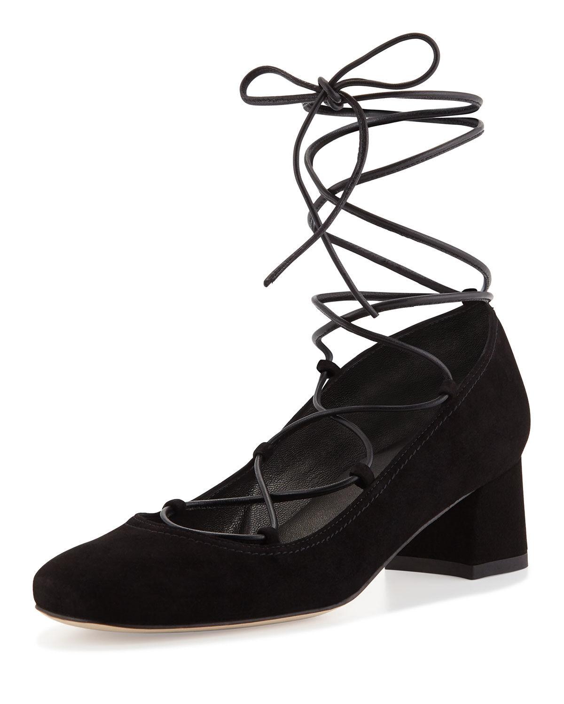 Stuart Weitzman Bomba Bomba Bomba Zapatos Negro Gamuza Cordón Con Cordones Bailarina 7.5M  alta calidad