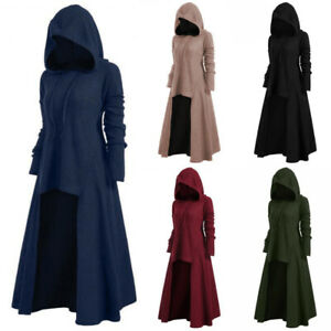 Womens-Gothic-Steampunk-Hooded-Long-Sleeve-Sweater-Dress-Party-Casual-Plus-Size