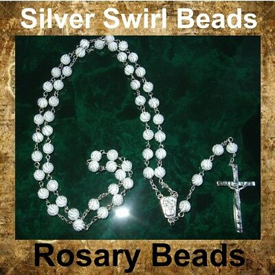 NEW CLEAR ROUND GLASS ROSARY PRAYER BEADS CHAIN NECKLACE /& METAL CRUCIFIX RB22