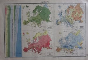 Rainfall Map Europe.1942 Map Europe Temperature Rainfall January July Distribution