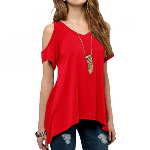 Women Summer Off-shoulder Blouse Tee Casual Irregular Loose T-Shirts Tops S-5XL