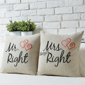 Am-KQ-Mr-Mrs-Right-Throw-Pillow-Case-Square-Cushion-Cover-Home-Sofa-Bed-Decor