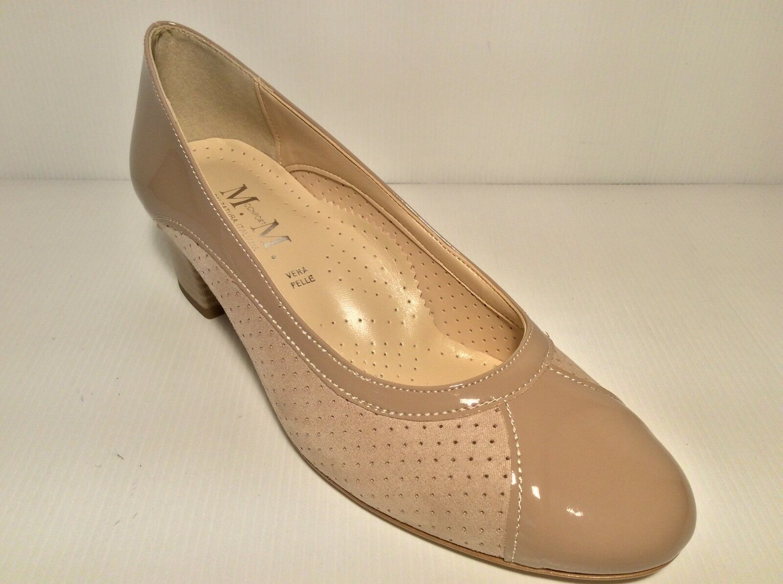 SCARPE DECOLTE' COL DONNA MM CONFORT 418 COL DECOLTE' TAUPE  MADE IN ITALY TACCO 40 7b2616