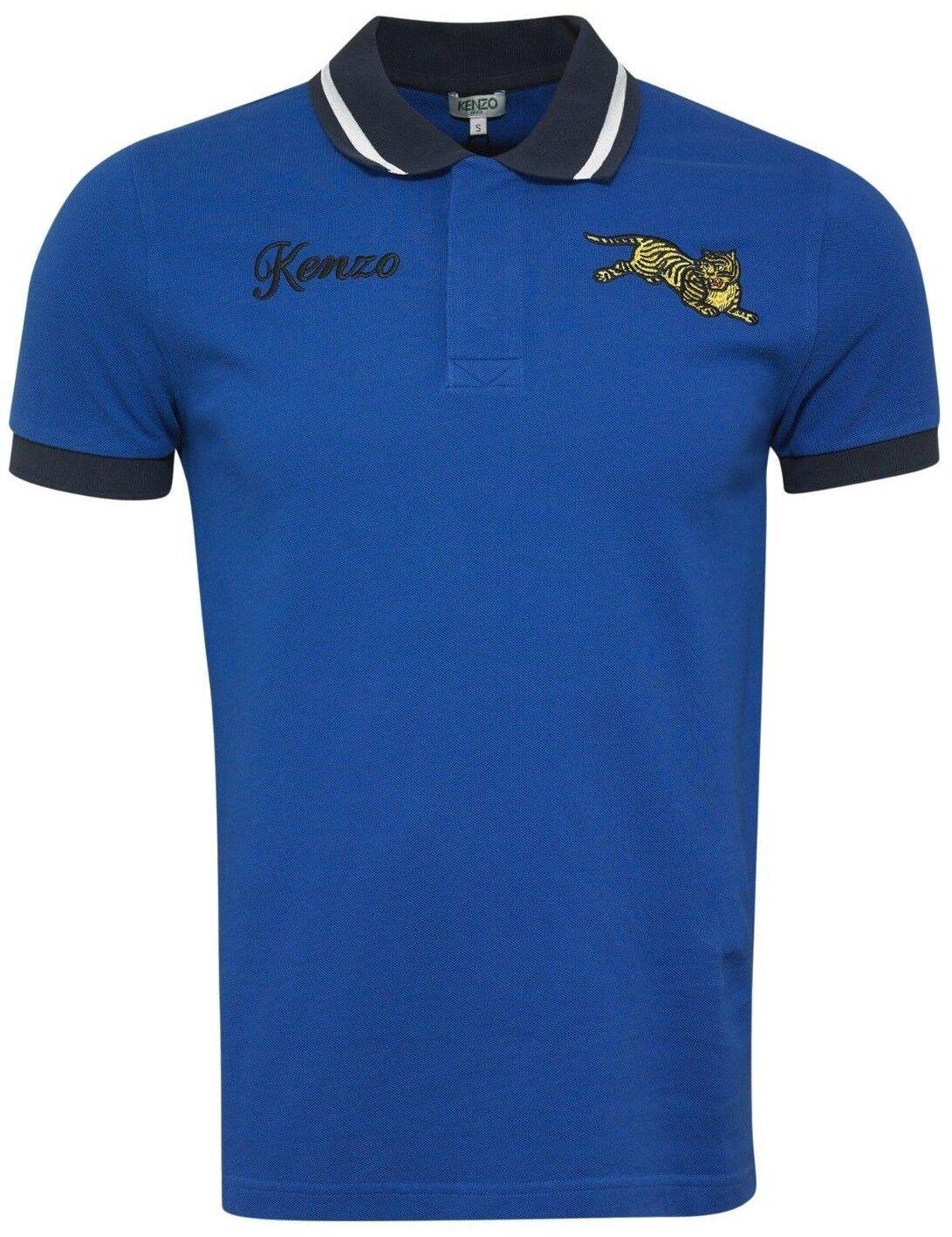 Kenzo Mens Jumping Tiger Motif Polo T-Shirt Royal bluee Icons K-Fit Large