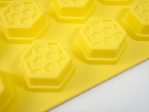 15 cell jaune nid d/'abeilles bees wax cire d/'abeille chocolat silicone bakeware gâteau moule
