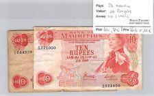 2 BILLETS ILE MAURICE - 10 ROUPIES - ND 1967