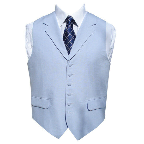 Irish Linen Waistcoat in Powder bluee 42  Long