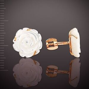 Mother-of-pearl-stud-earrings-russian-Rose-gold-14k-585-screw-backs-NWT-2-79-g