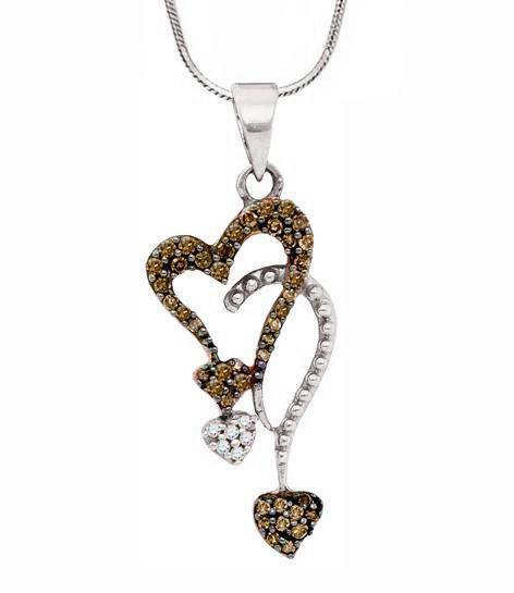 Chocolate Brown Diamond Pendant 10K White gold Diamond Dual Heart Pendant .20ct