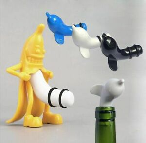 Wine-Bottle-Stopper-Plug-FUNNY-Vacuum-Kitchen-Bar-Banana-Champagne-Stopper-Cork
