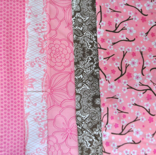 PinkBrown Cherry Blossoms Bundle, 5 Fat Quarter cuts, 100% cotton fabric